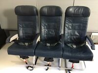 Airplane triple leather seat removed from an A320