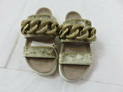INUIKII Gold Velvet with Gold Lame/Metal Chain Slide Size 36 (US 6) NWOB