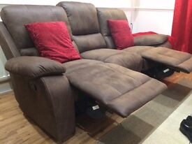 3 Seater Recliner Sofa (Brown Faux Suede)