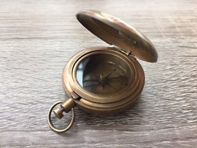 Antique Finish Brass Dalvey Style Compass - Old Vintage Nautical Pocket Necklace