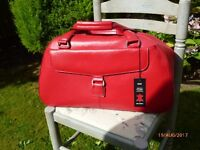 RED LEATHER WEEKEND BAG (M&S)