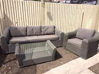 Rattan sofa, chair and coffee table set