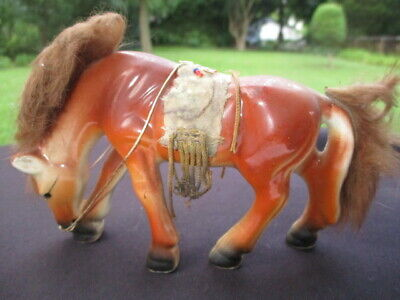 HORSE FIGURINE 1950-60's NATIVE PONY WITH SUEDE & BEAD GEAR REAL HAIR MANE TAIL