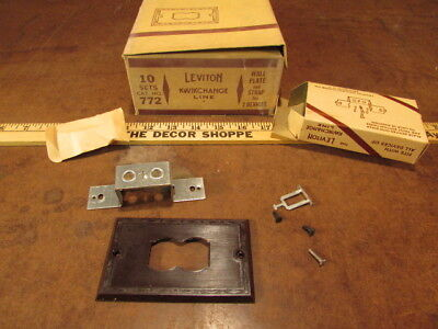Vintage NOS bakelite Wall Plate and Strap for Two Device No. 772 Art deco