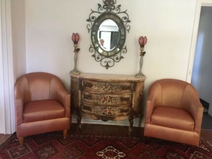 Tub Chairs(2)-salmon coloured silk upholstery, in vgc