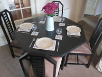 Lovely designer dining table and 4 high back chairs, black Rennie Mackintosh style detail, kitchen