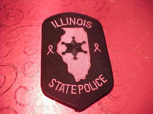 ILLINOIS STATE POLICE PINK CANCER POLICE PATCH SHOULDER SIZE UNUSED *********