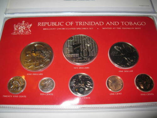 Rare 1979 Trinidad & Tobago BU Unc Mint Set 8pc Coins Franklin Mint Old Foreign