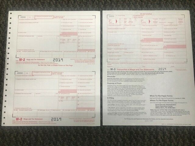 (6) 2019 IRS TAX FORMS W-2 (6 Recipients) + 1 FORM W-3 Business & Industrial