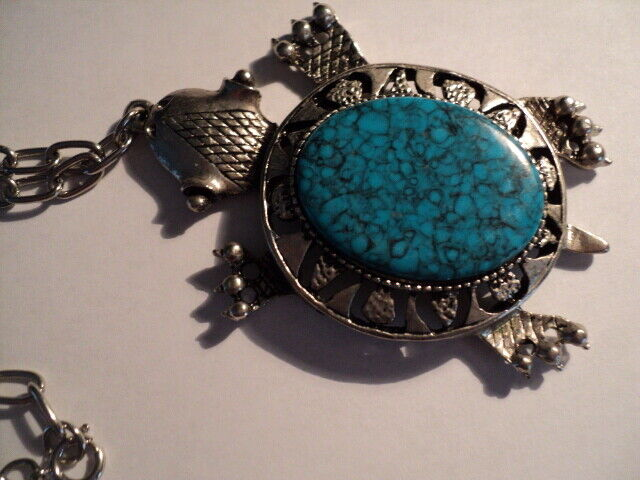 Large sized Turquoise Turtle Necklace (at least 30 years old) Silver? Stainless?