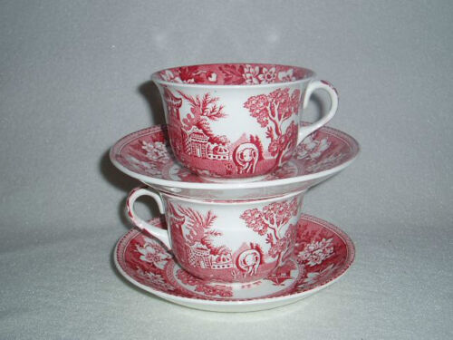 2 Pink Red Transferware Cups & Saucers Britannic Pottery Hanley #2