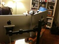 2x 24 Apple LED Cinema Displays VESA Mounted TO Desk Clamp Stand