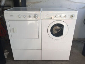 "Kenmore 27"" white frontload stackable washer electric dryer"