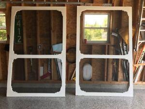 Hand made screen door for garage door.