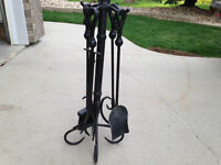 Black Fireplace Tools on Stand