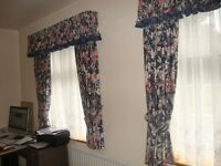 Two set of printed cotton lined curtains