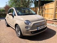 Beige Fiat 500 0.9 Lounge TwinAir, LOW MILEAGE, IMMACULATE CONDITION, FULL FIAT SERVICE/MOT HISTORY