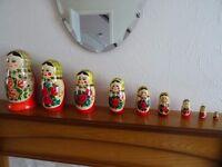 9 PC Vintage Russian Nesting Dolls, Roses