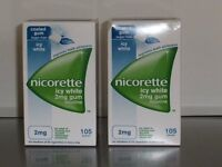 Nicorette Icy White 2mg Chewing Gum 105 pieces in each box Two Boxes