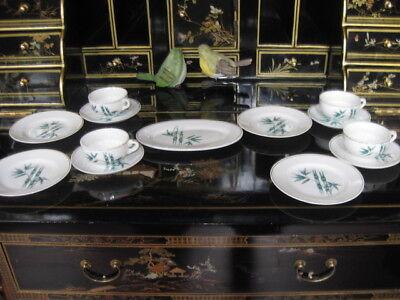 Vintage Japanese Hand Painted Porcelain Bamboo Pattern Children Toy Dinner Set