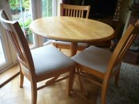 Round Beech Dining Table & 3 Chairs