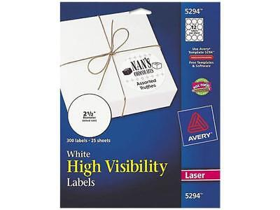 Avery 5294 High-visibility Round Laser Labels 2-12in Dia White 300pack