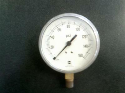 Usg 160 Psi Pneumatic Air Compressor Pressure Gauge 3-12 Face 14 Npt Bottom