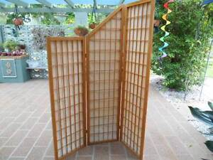 WOODEN PANELLED SCREEN -3 HINGED PANELS-180CM FULL HEIGHTX 138CM Camira Ipswich City Preview