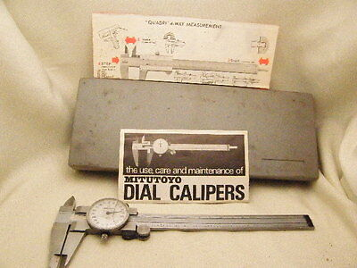Mitutoyo Dial Caliper Quadri 4-way Measurment Brazil .001 505-626 6 In Case
