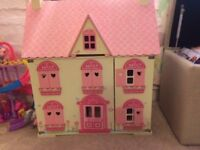Dolls House - ELC Rosebud Village - with all dolls and furniture, lovely condition
