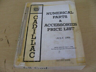 68 1968 Cadillac Parts and Accessories Numerial Price List Book Catalog Original