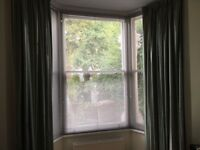 Full length lined curtains. Good condition and quality material. Ideal for large bay window.