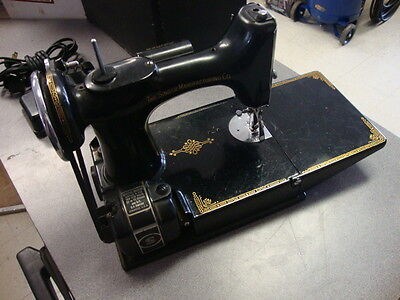 Vintage Singer Featherweight 221-1 Sewing Machine With Pedal, Case, Accesories on Rummage