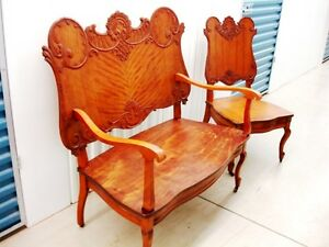 1800s Superb SETTEE LOVESEAT SET carved wood ANTIQUE EASTLAKE