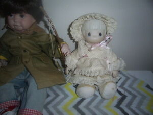 Porcelain boy doll fishing,Porcelain girl doll with teddy bear.