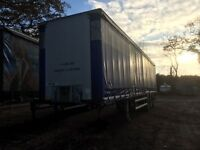 Curtain side trailer 13.6m x 4.2m Crane chassis with new mot .