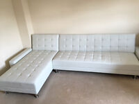 Brandnew, unused corner sofa 300 x 170 cm, cream faux leather