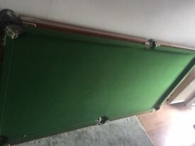 folding 6 x 3 ft pool table with balls and cues