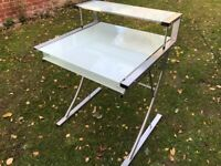 COMPUTER DESK (GLASS/CHROME) WITH PULL OUT SHELF - GOOD CONDITION
