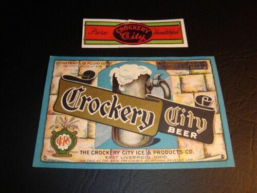 Circa 1930s Crockery City U-Permit Label, Blue, East Liverpool, Ohio