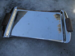 stainless steel tray with wooden grip handles. Like new. 16X10 i
