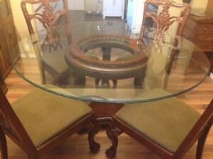 Glass Dining Table with Solid Wood Pedestal and Chairs