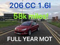 £975 2003 Convertible 206 CC 1.6l* like punto golf micra corsa clio aygo c1 107 astra focus polo