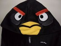 NEXT Boys Angry Birds Hooded Fleece Onesie / All In One, Black, Age 9-10 Years