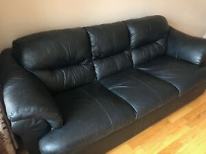 Genuine leather Sofa and Reclining Chairs, Ottomans-Black