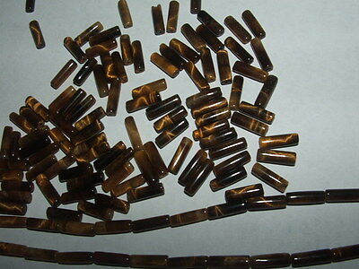 """VTG TIGER EYE Beads 1/2 length Straight Sides TUBE BEAD Style Loose qty 40 = 20"""""""