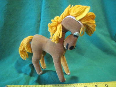 "Vintage Plush Horse Dream Pets Dakin 7"" Brown PLUS Free Doll Very Nice!"