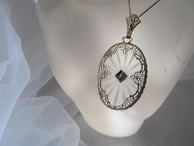 Vintage 14K White Gold Art Deco Filigree Crystal Diamond Pendant/Necklace
