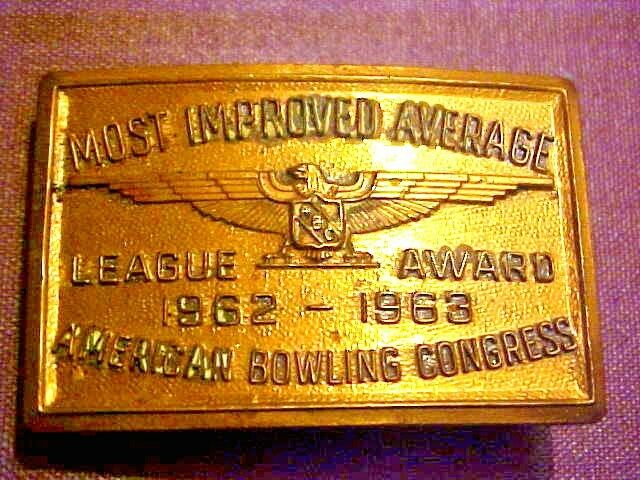 American Bowling Congress Belt Buckle Most Improved Average League Award