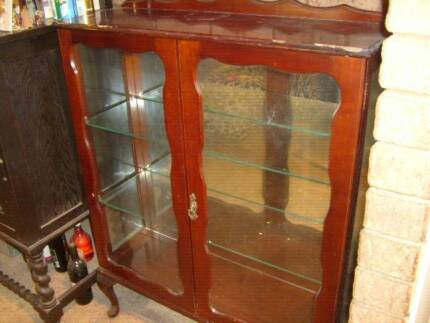 CHINA CABINET , BOANS HALLSTAND, BOOKCASE  COLLECTABLES OLD CHINA